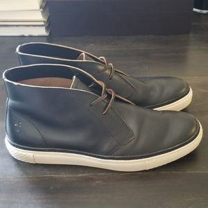 Frye black leather chukka boots